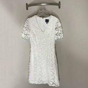 Adrianna Papell Floral Lace Short Sleeve A-Line